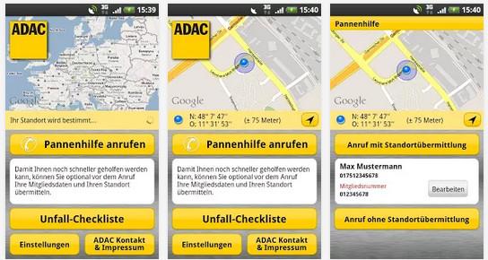 ADAC Pannenhilfe App Screenshots 1